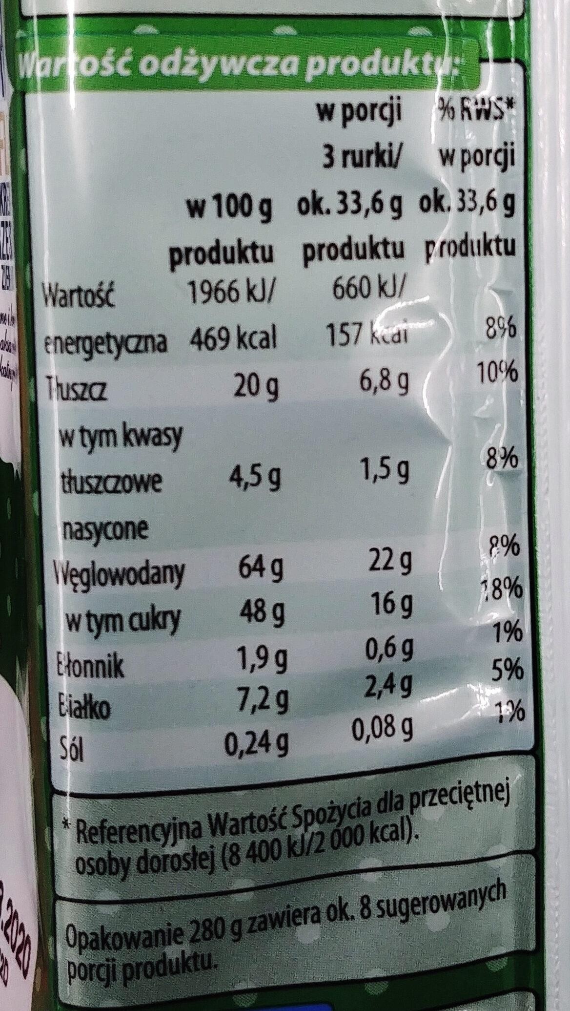 Rurki waflowe z kremem z orzeszkami ziemnymi (60%). - Wartości odżywcze - pl