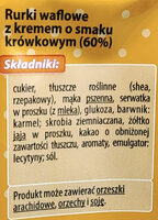 Rurki waflowe z kremem o smaku krówkowym (60%) - Składniki - pl