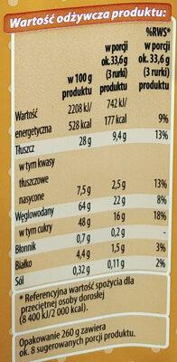 Rurki waflowe z kremem o smaku krówkowym (60%) - Wartości odżywcze - pl