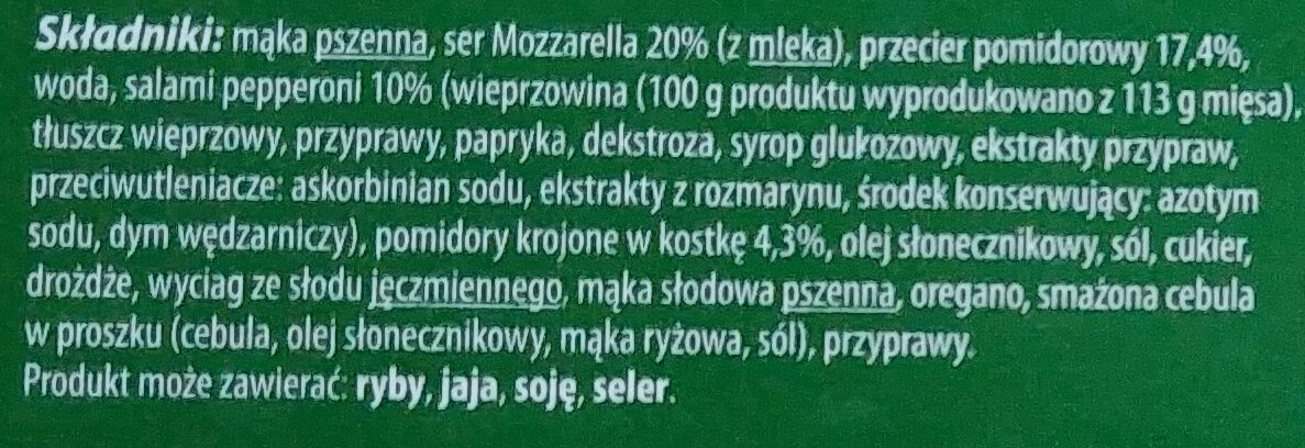 Pizza pepperoni - Ingrédients - pl