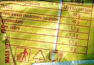 Masło o zawartości trzech czwartych tłuszczu. - Wartości odżywcze - pl