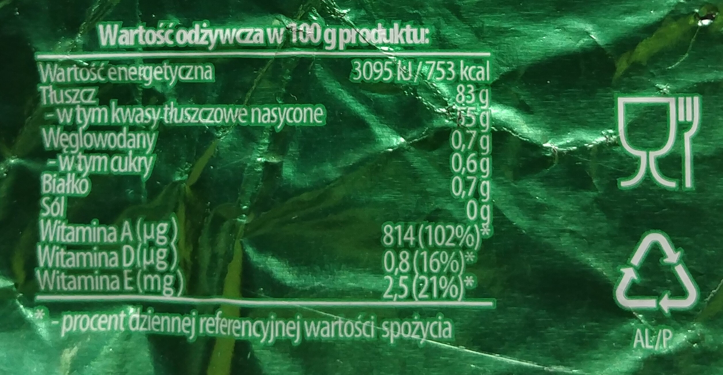 Masło ekstra z Łukowa - Wartości odżywcze - pl