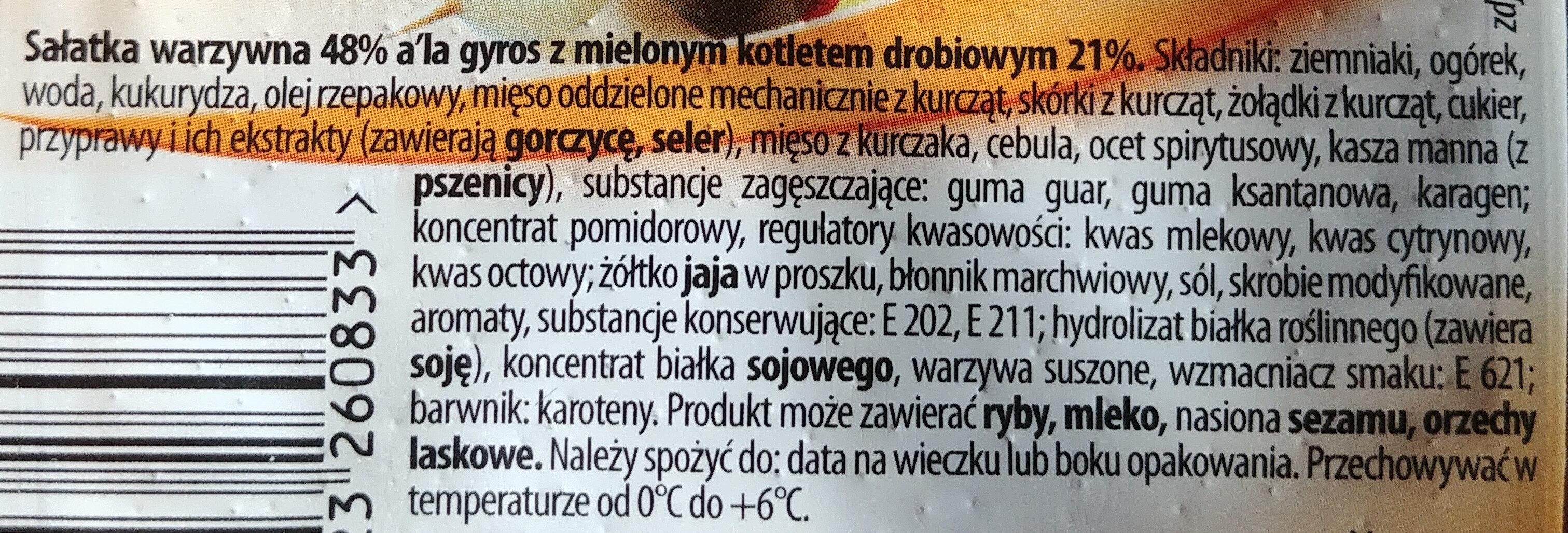 Sałatka warzywna a la Gyros - Ingrediënten