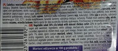 Sałatka z warzywami 36% a'la kebab z mielonym kotletem drobiowym 23% w sosie czosnkowym. - Ingredients