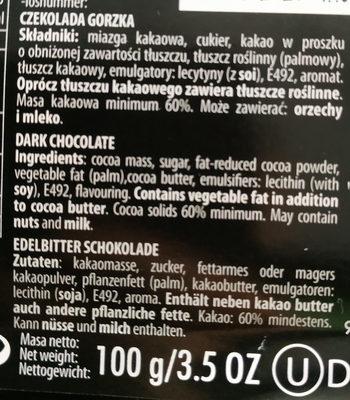 Union Chocolate Gorzka - Ingredientes