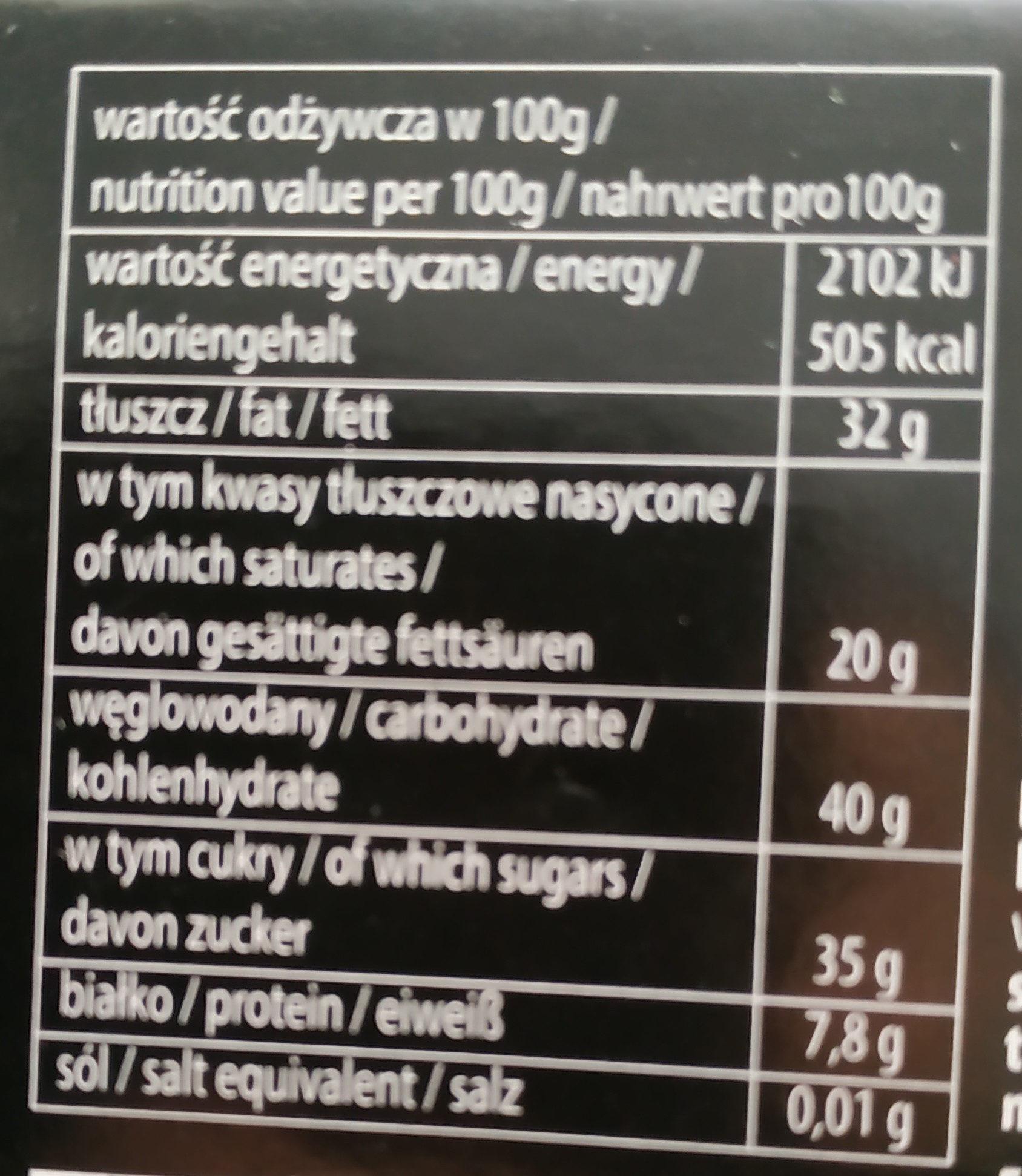 Union Chocolate Gorzka - Información nutricional - pl
