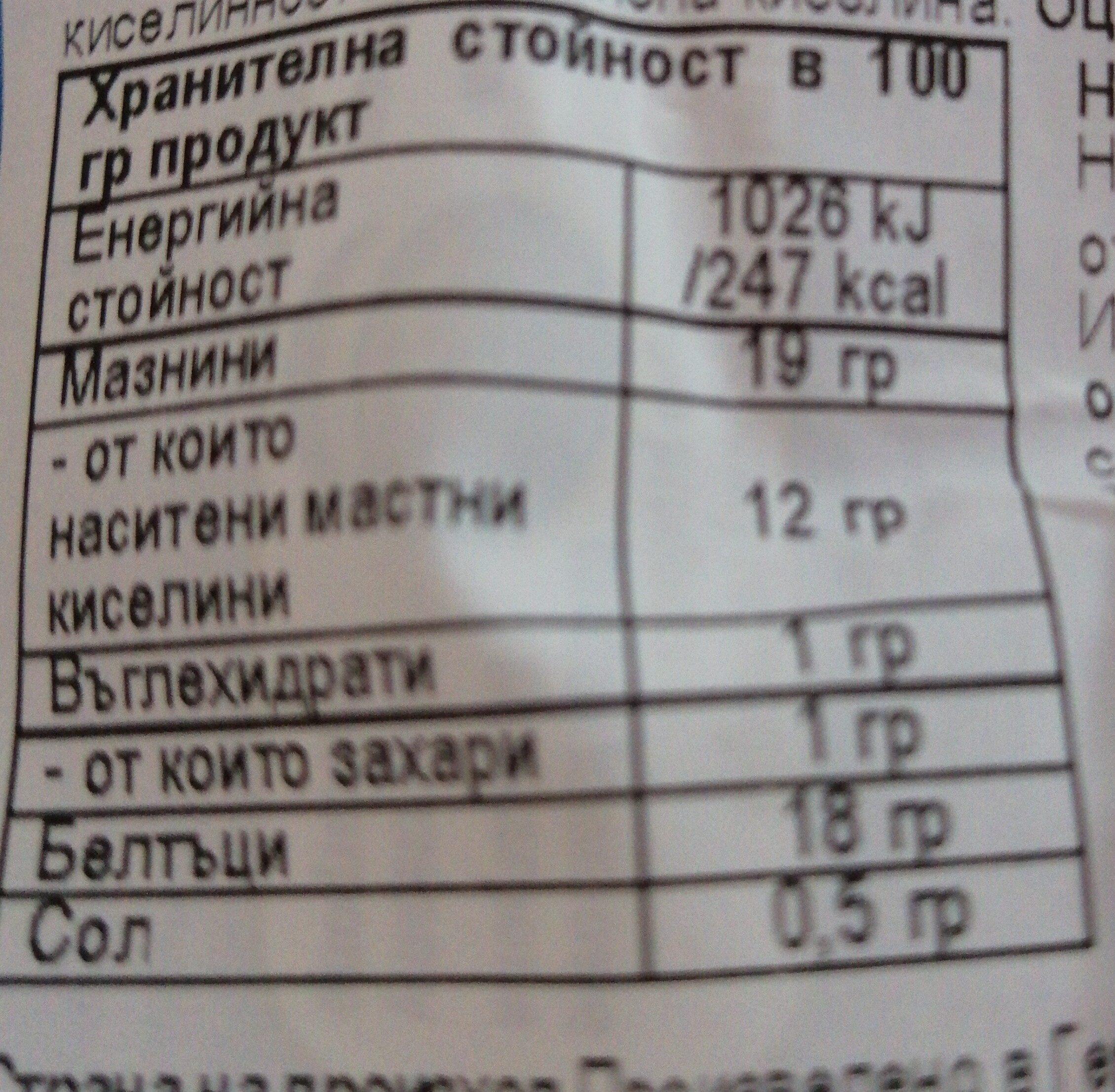 Mozzarela - Valori nutrizionali - bg