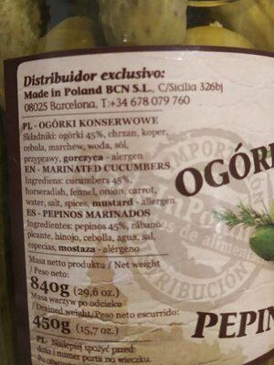 Pepinos Marinados - Informations nutritionnelles - es