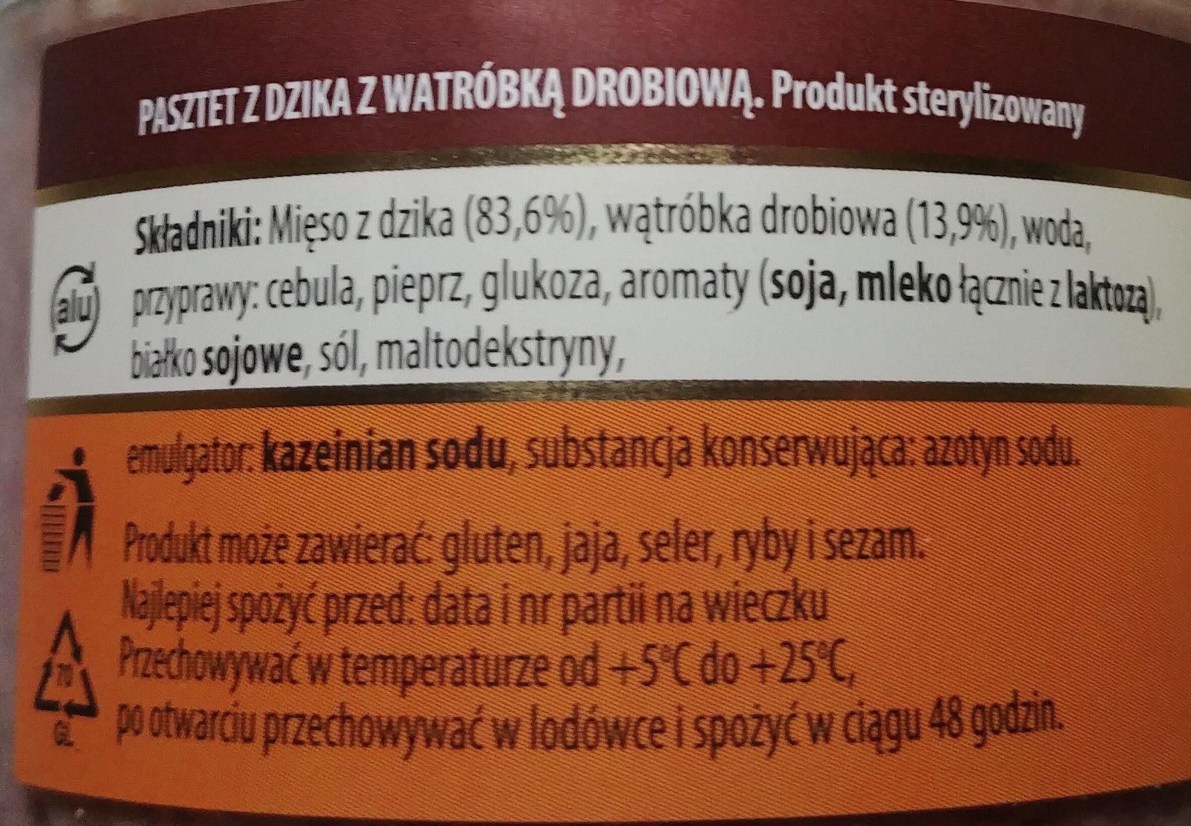 Pasztet z dzika z wątróbką drobiową - Składniki - pl