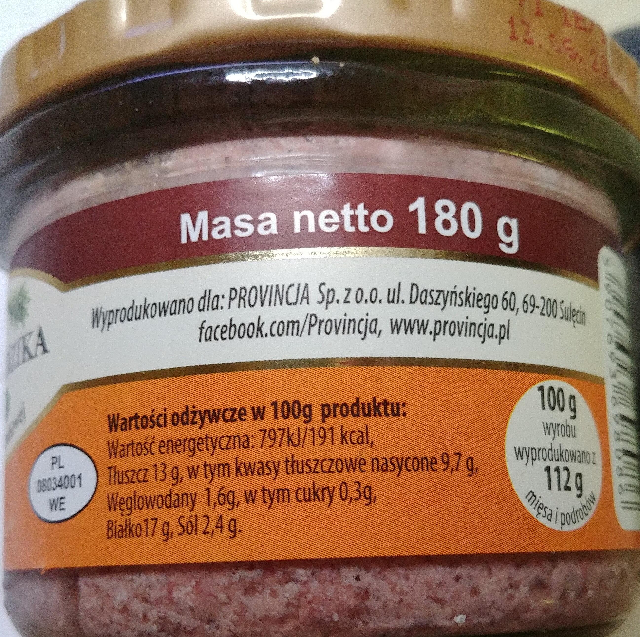 Pasztet z dzika z wątróbką drobiową - Wartości odżywcze - pl