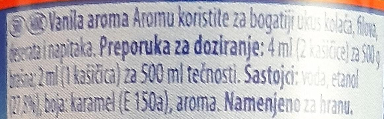 Aroma Vanila - Ingredienti - sr