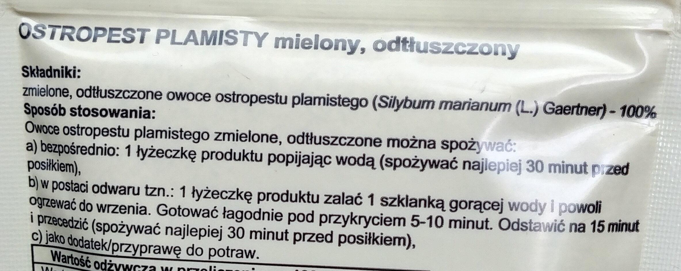 Ostropest plamisty mielony, odtłuszczony. - Ingredients - pl