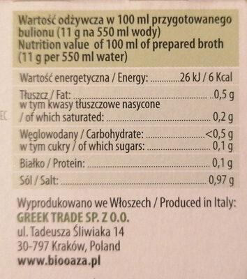 Bulion warzywny - Wartości odżywcze - pl