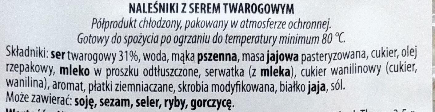 Naleśniki z serem twarogowym - Ingrediënten - pl