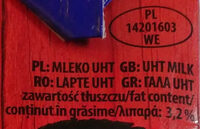 Mleko 3,2 % - Składniki - pl