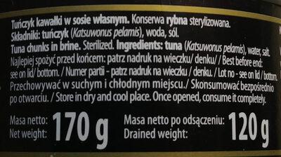 Tuńczyk kawałki w sosie własnym. - Składniki