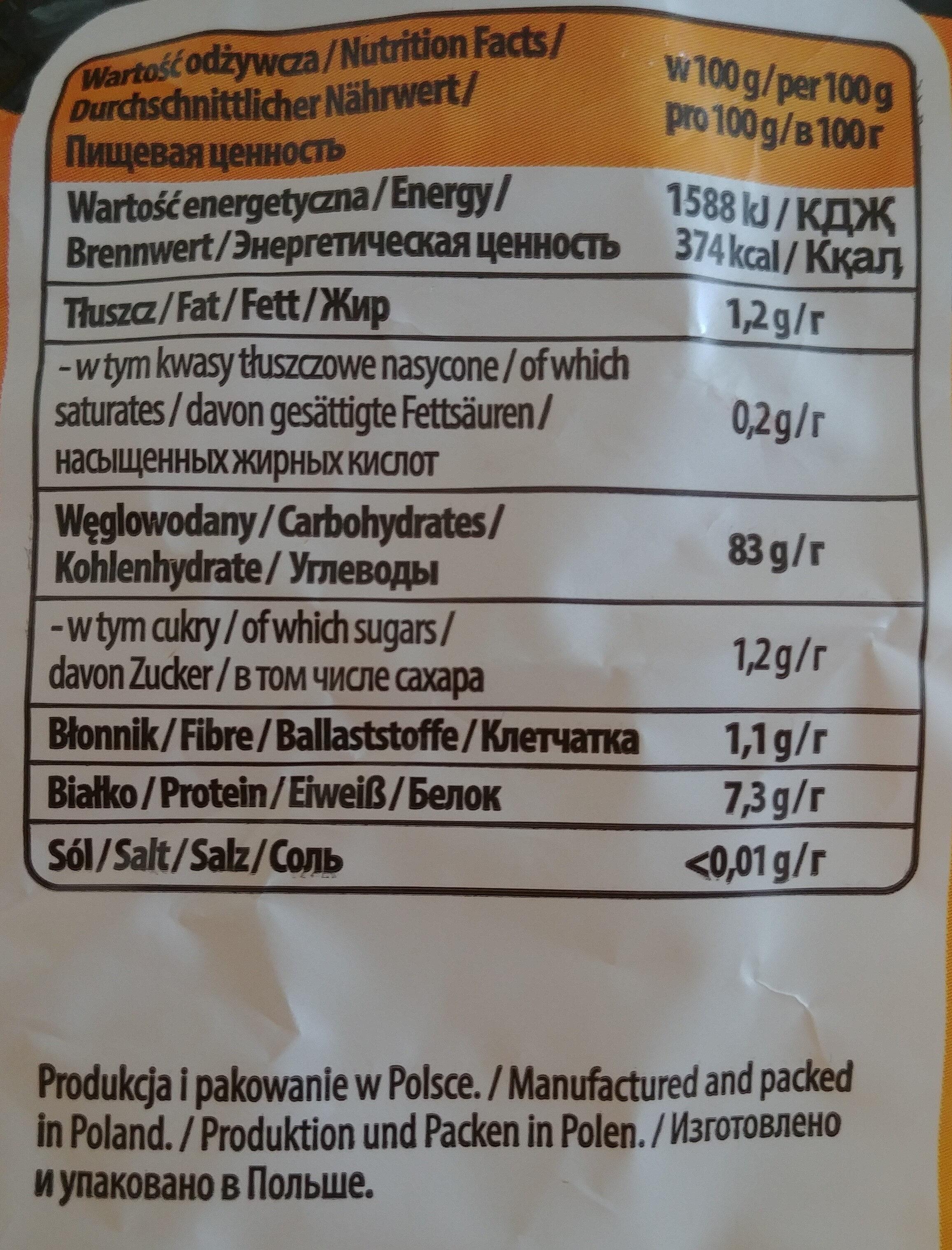 Tygryski pałeczki kukurydziane - Wartości odżywcze - pl