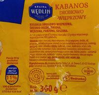 Kabanos drobiowo-wieprzowy - Składniki