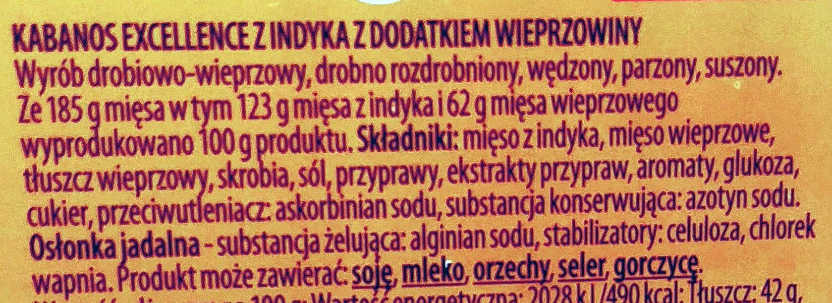 Kabanos excellence z indyka z dodatkiem wieprzowiny - Ingredients - pl