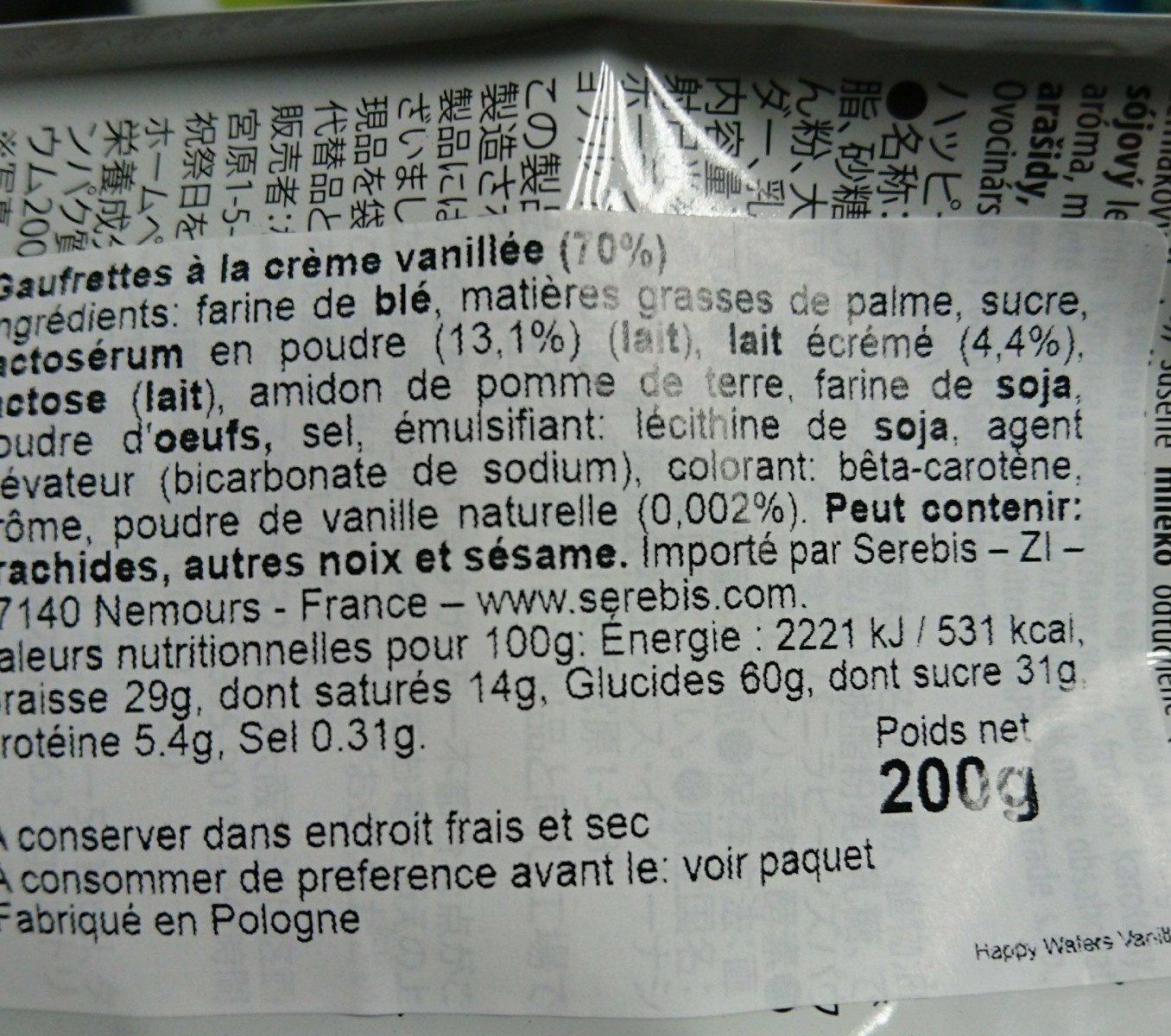 Gaufrettes vanille - Ingrédients - fr