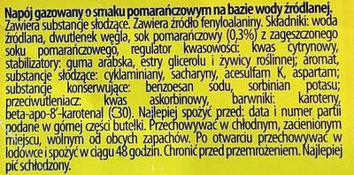 Napój gazowany o smaku pomarańczowym na bazie wody źródlanej. - Składniki - pl
