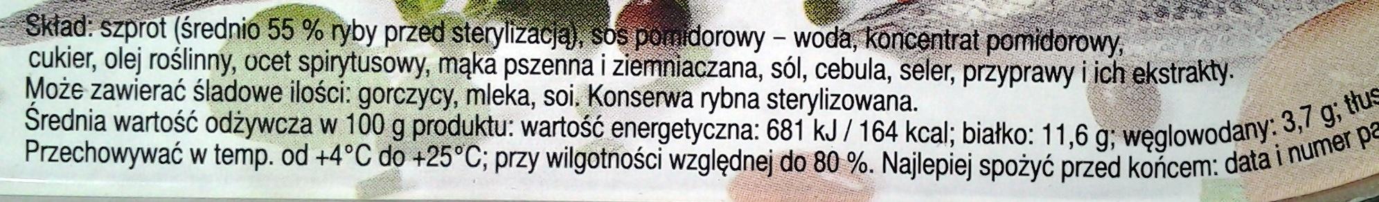 Szprot w sosie pomidorowym - Składniki - pl