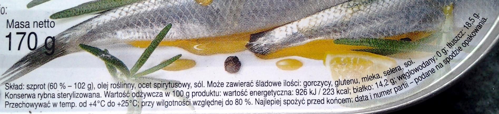 Szprot w oleju roslinnym - Składniki - pl