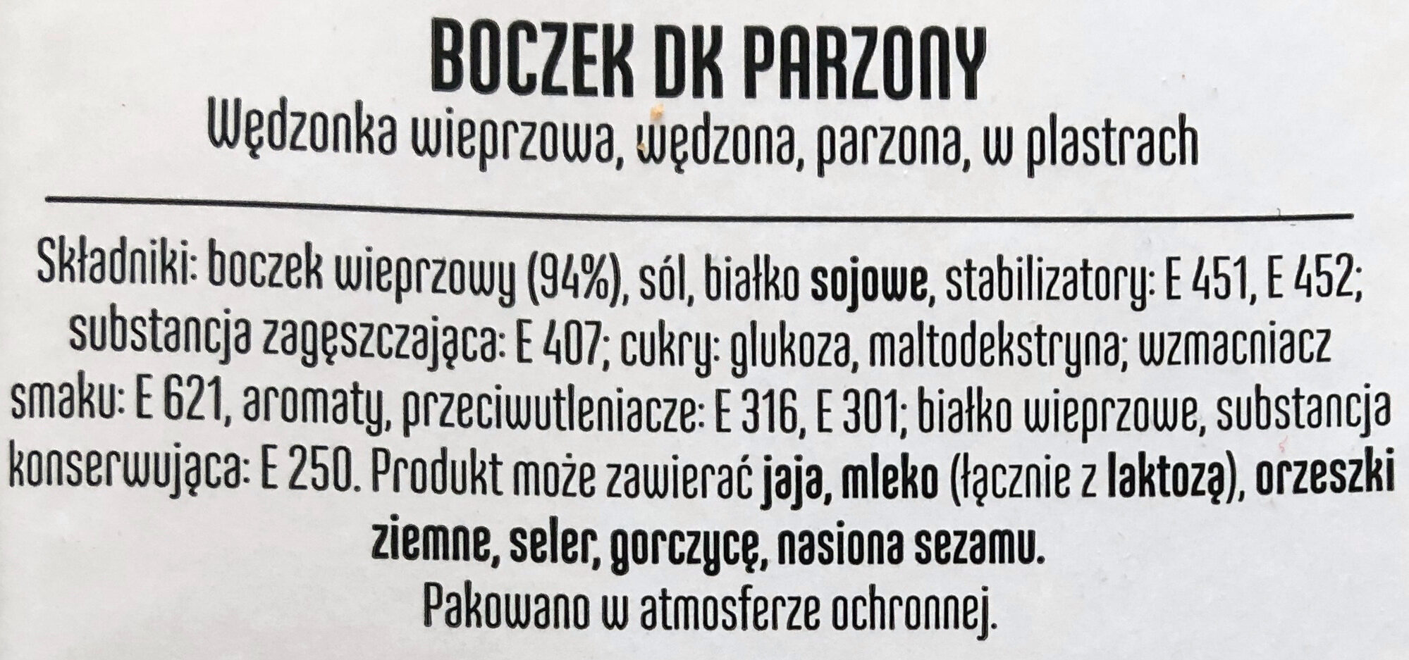 Boczek DK Parzony - Składniki - pl