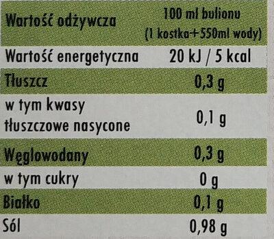 Bulion ekologiczny, drobiowy w kostkach - Wartości odżywcze - pl