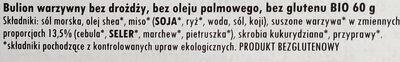 Bulion ekologiczny, warzywny w kostkach - Składniki - pl