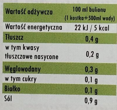 Bulion ekologiczny, warzywny w kostkach - Wartości odżywcze - pl