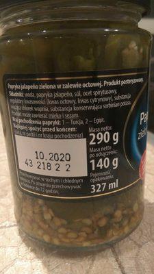 Papryka Jalapeño zielona w zalewie octowej - Składniki