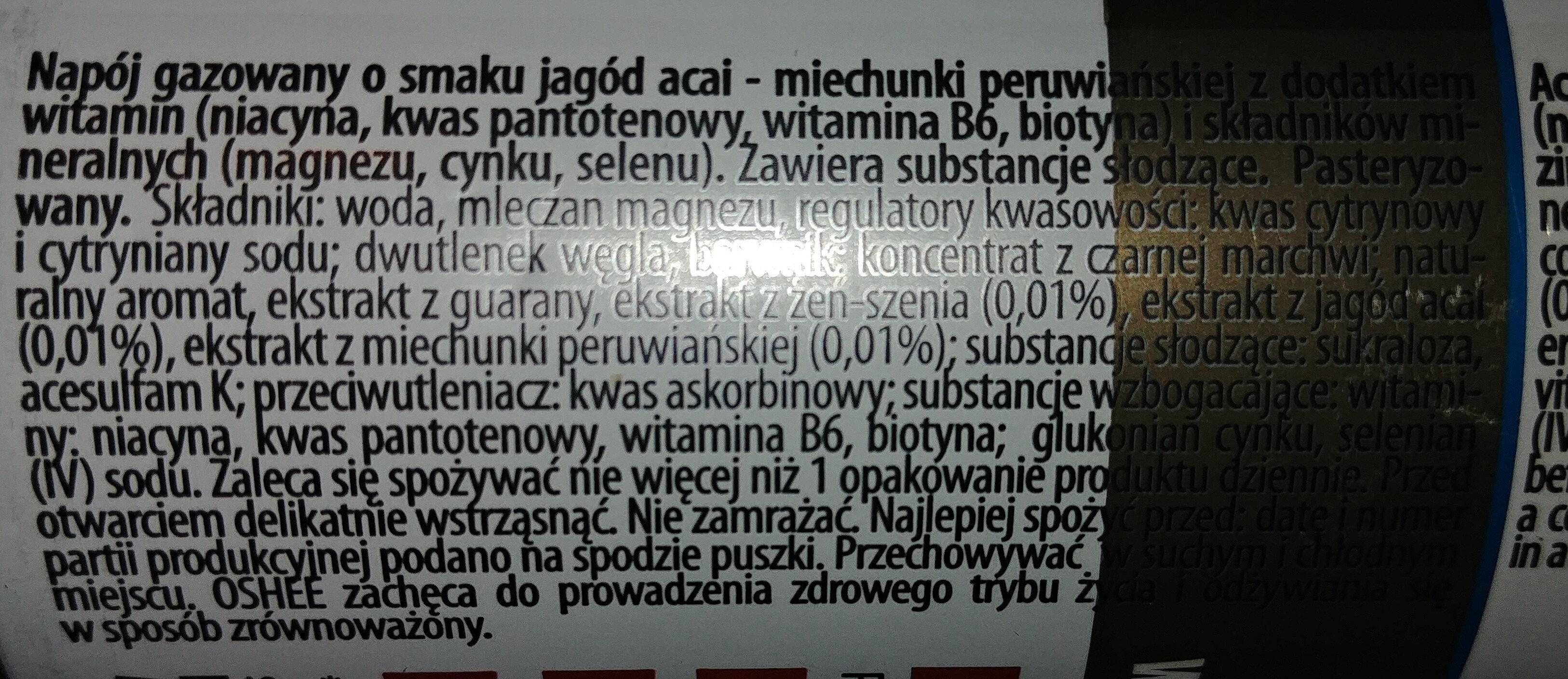 Napój gazowany o smaku jagód acai - miechunki peruwiańskiej - Składniki