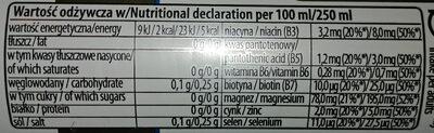 Napój gazowany o smaku jagód acai - miechunki peruwiańskiej - Wartości odżywcze