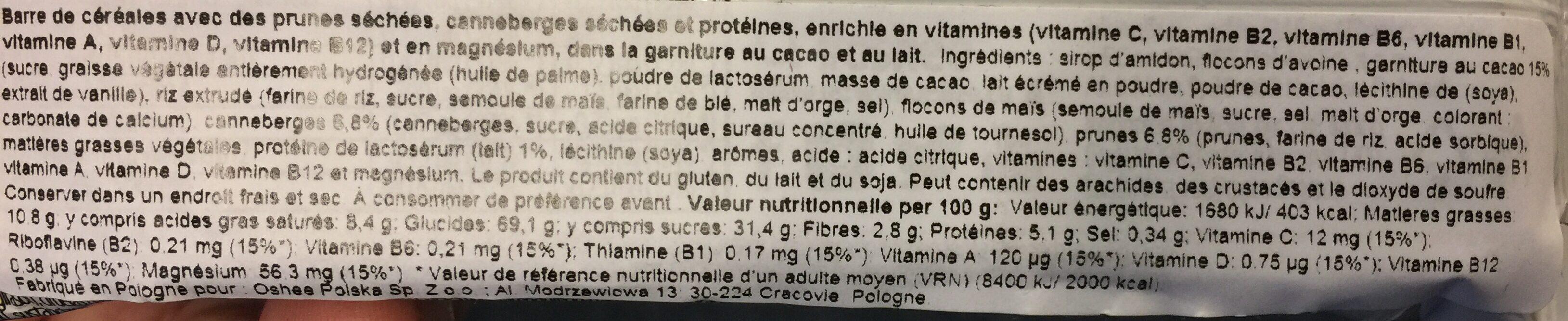 Vitamin Muesli Cereal Bar Plum / Cranberry - Ingrediënten - en