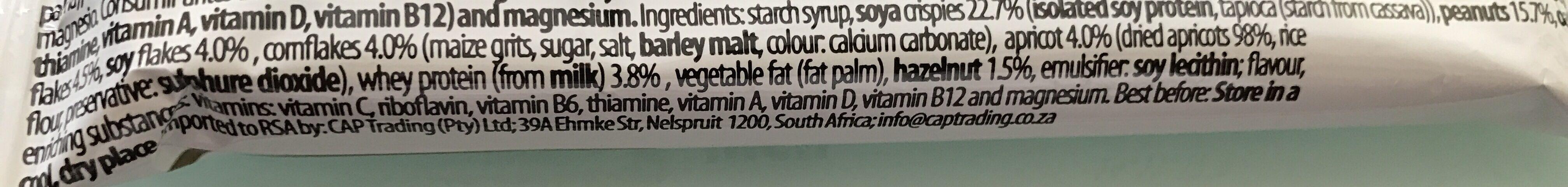 Protein Muesli bar Apricot Nuts - Ingredients