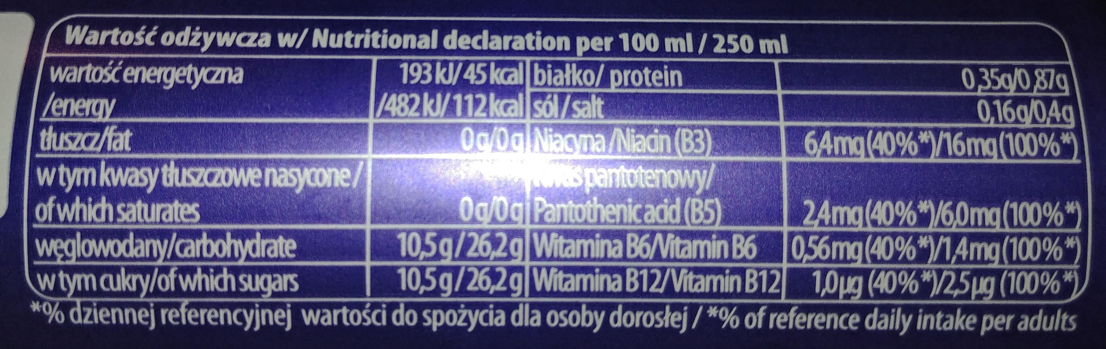 Gazowany napój energetyczny o smaku jagód acai-goji z dodatkiem witamin, kofeiny, tauryny, kombuchy. - Wartości odżywcze - pl