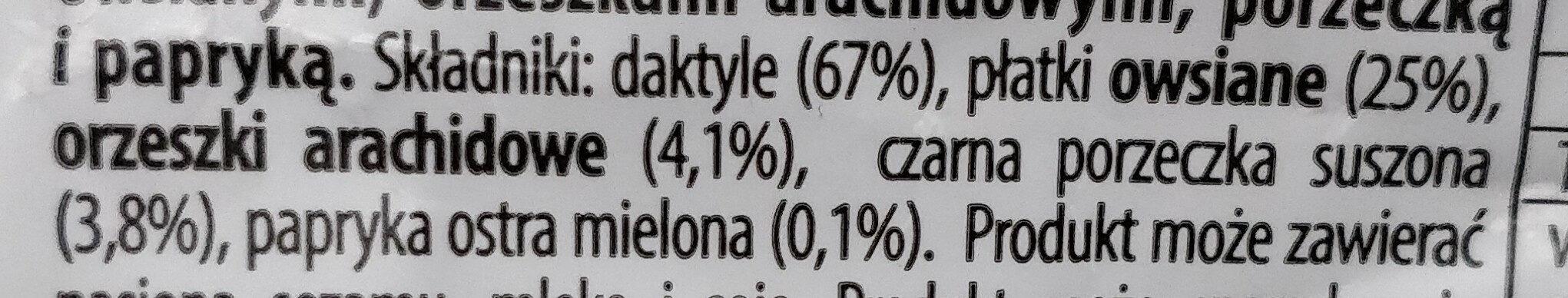 Musli Bar czarna porzeczka papryka - Ingrédients - pl