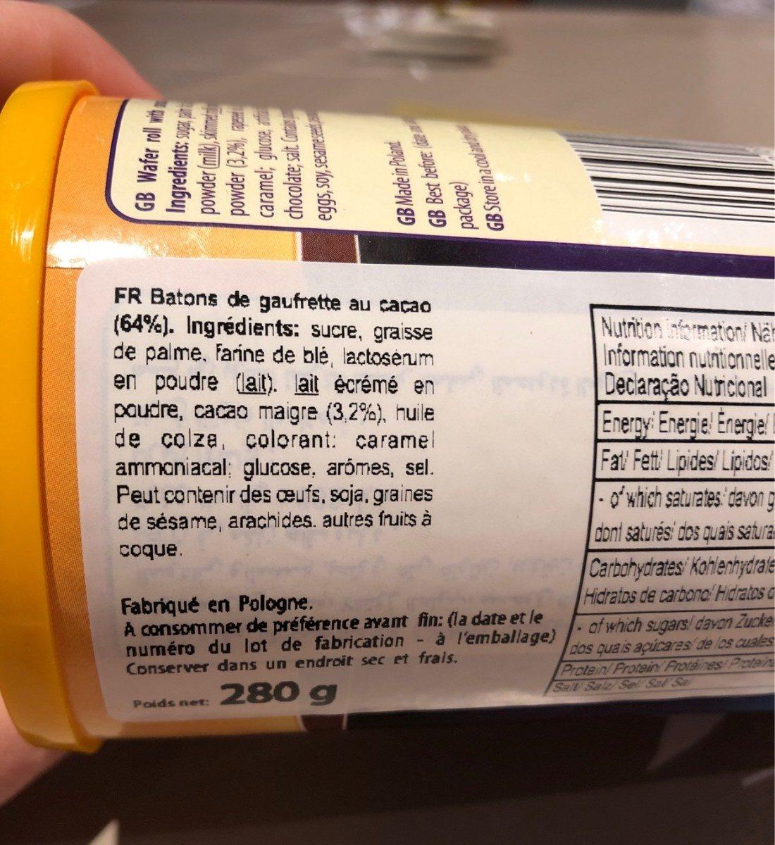 wafer rolls - Ingredients - fr