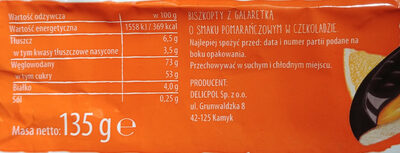 Biszkopty z galaretką o smaku pomarańczowym w czekoladzie - Wartości odżywcze - pl