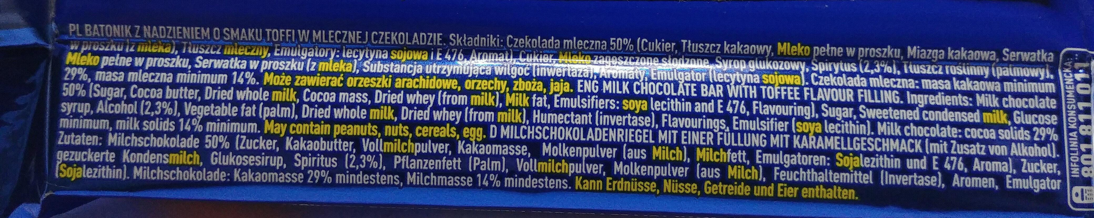 Batonik z nadzieniem o smaku toffi w mlecznej czekoladzie 2,3%. - Ingredients