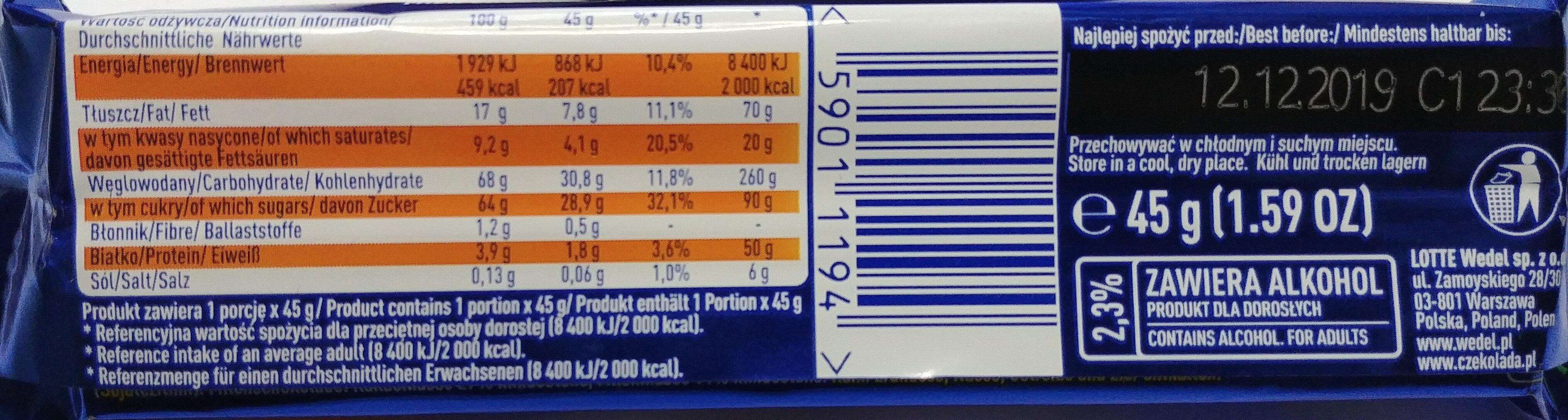 Batonik z nadzieniem o smaku toffi w mlecznej czekoladzie 2,3%. - Nutrition facts