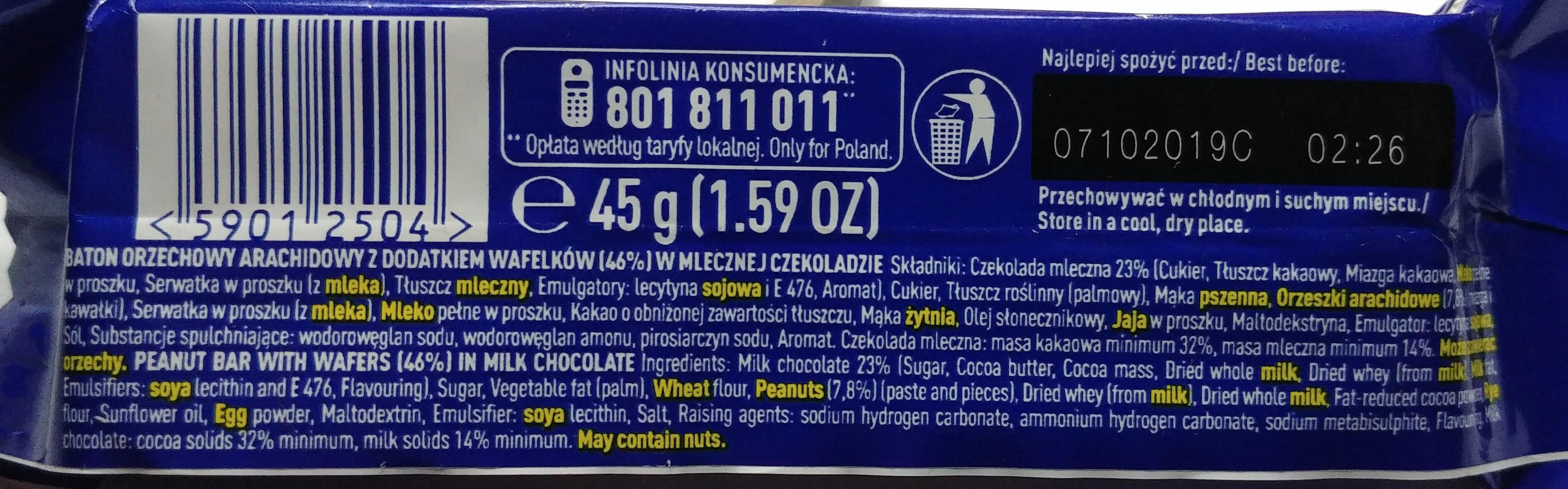 Baton orzechowy arachidowy z dodatkiem wafelków 46% w mlecznej czekoladzie. - Składniki