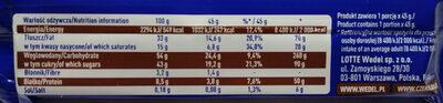 Baton orzechowy arachidowy z dodatkiem wafelków 46% w mlecznej czekoladzie. - Wartości odżywcze