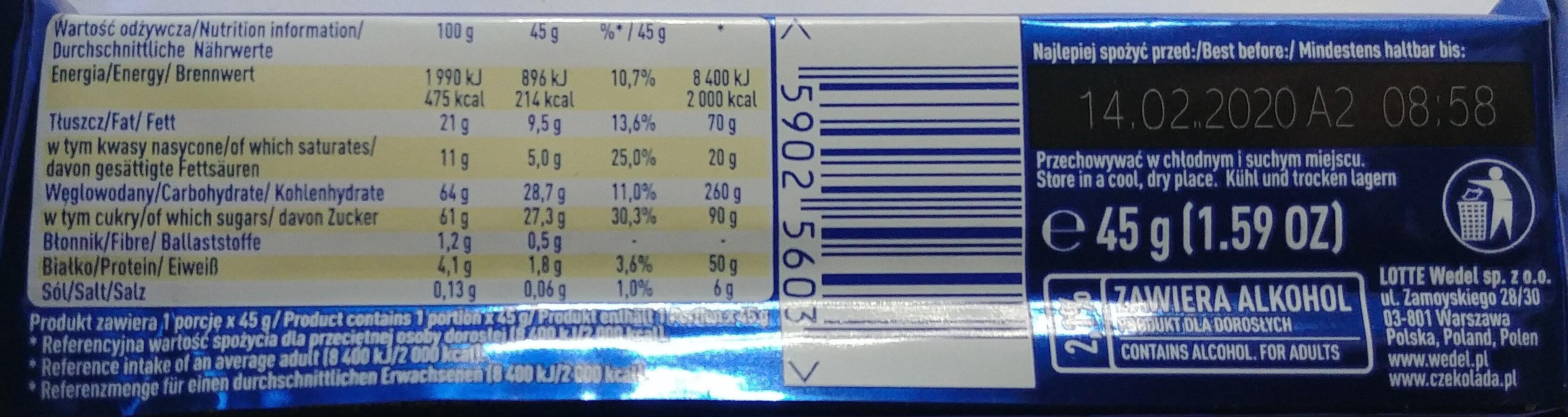 Batonik z nadzieniem o smaku śmietankowym w mlecznej czekoladzie (z dodatkiem alkoholu). - Informations nutritionnelles