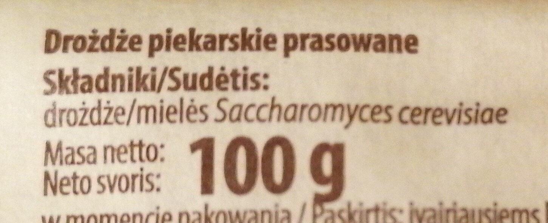Drożdże Babuni - Składniki - pl