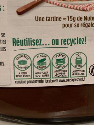 Nutella pate a tartiner noisettes-cacao t630 pot de 630 gr - Instruction de recyclage et/ou informations d'emballage - fr
