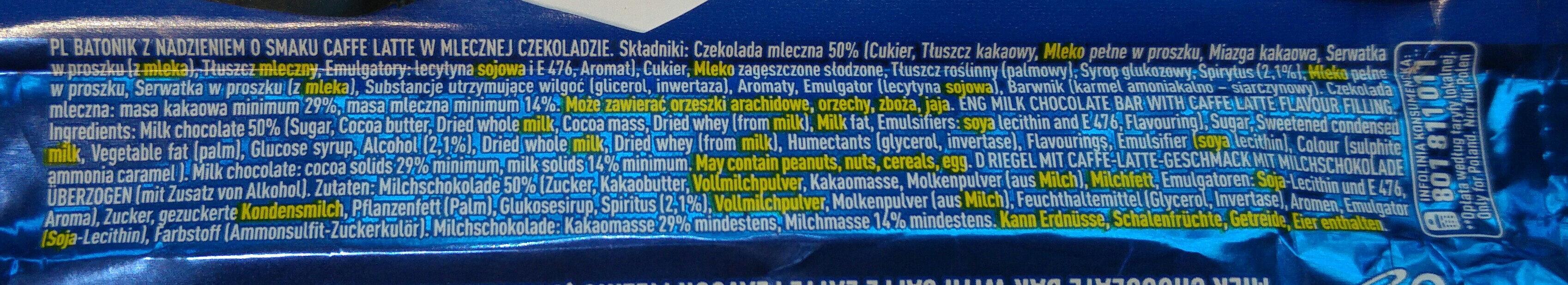 Batonik z nadzieniem o smaku caffe latte w mlecznej czekoladzie (z dodatkiem alkoholu). - Ingredients