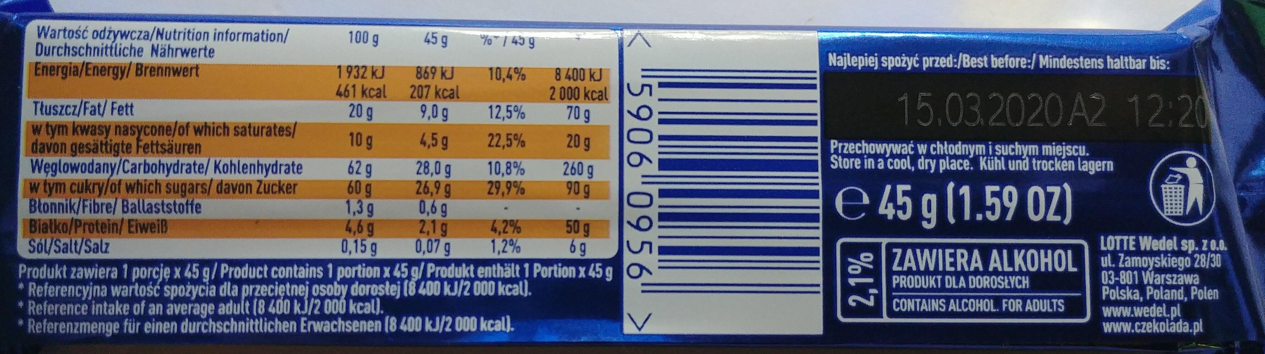 Batonik z nadzieniem o smaku caffe latte w mlecznej czekoladzie (z dodatkiem alkoholu). - Nutrition facts