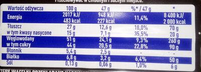 WW gorzka czekolada - Voedingswaarden - pl